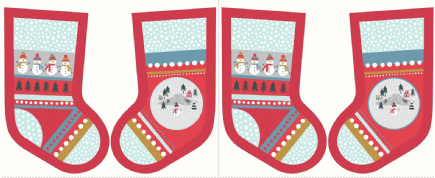 Lewis & Irene - Snow Day - 6000 - Stocking Panel on Red - C39.3 - Cotton Fabric